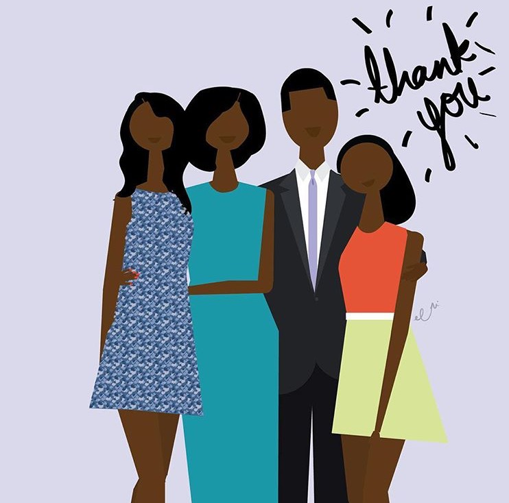President-Obama-Family-Illustration-Pink-Proverb